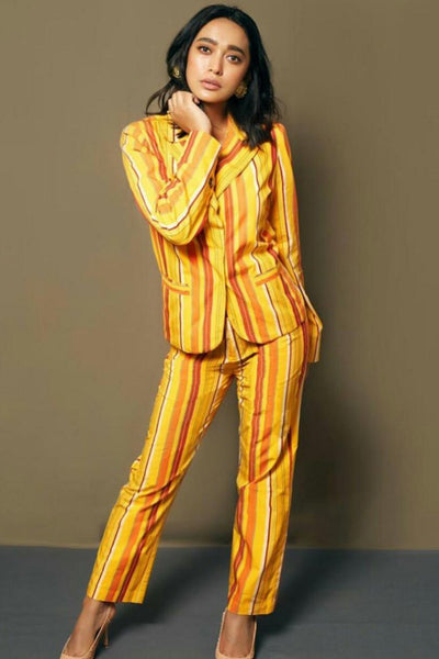 Sayani Gupta in our MUSTARD STRIPE PANTSUIT SET - MellowDrama
