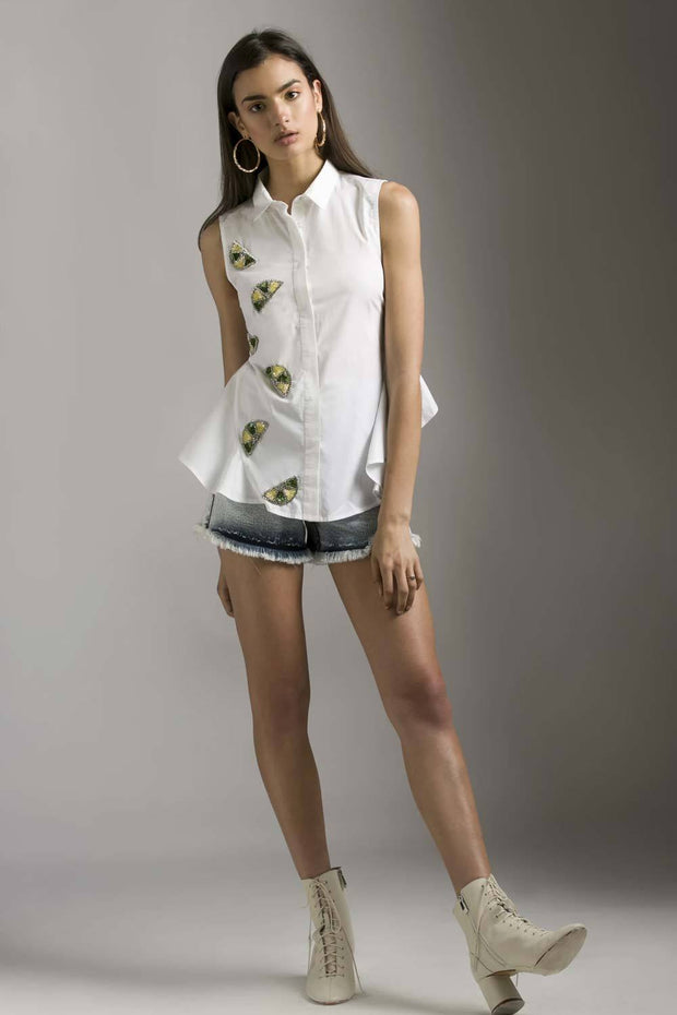 SLEEVE WHITE SHIRT WITH LEMON EMBELLISHED MOTIF - MellowDrama