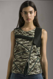 SLEEVELESS CARGO PRINTED TOP WITH SHIMMERY TAPES - MellowDrama
