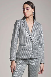 STRIPE SEQUINS SHEETING BLAZER - MellowDrama