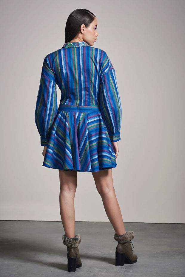 STRIPE SEQUINS SHEETING DRESS - MellowDrama