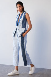 STRIPE & TENCEL SLEEVELESS BLAZER - MellowDrama
