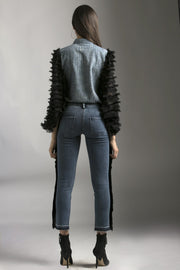 TENCEL DENIM SHIRT WITH BLACK FRAYED SLEEVES - MellowDrama