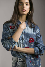 TENCEL DENIM SHIRT WITH RED FLOWER EMBELLISHMENT - MellowDrama