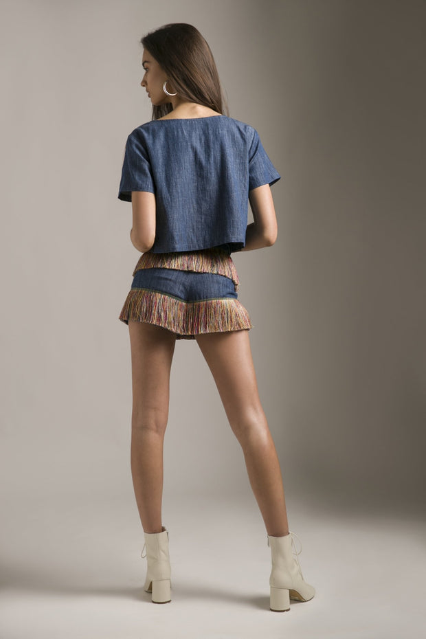 TENCEL DENIM SHORTS WITH FRINGES - MellowDrama