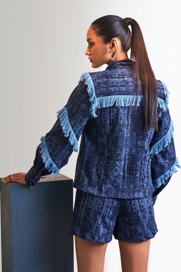 TEXTURED DENIM & FRINGE JACKET - MellowDrama