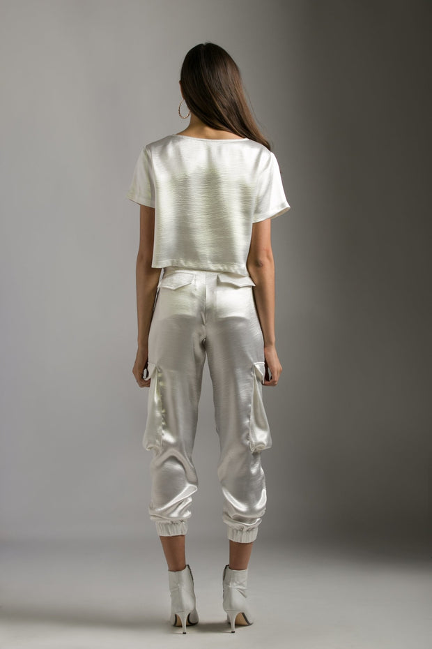 TEXTURED WHITE CARGO PANTS - MellowDrama
