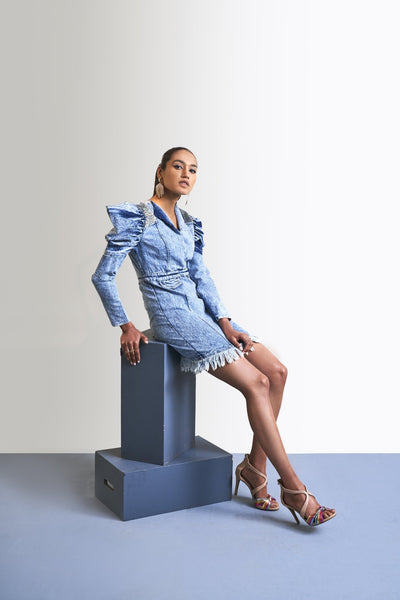 WASHED DENIM DOUBLE SLEEVE DRESS - MellowDrama