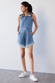 WASHED DENIM PLAYSUIT - MellowDrama