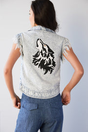 WASHED DENIM VEST WITH EMBELLISHED WOLF MOTIF - MellowDrama