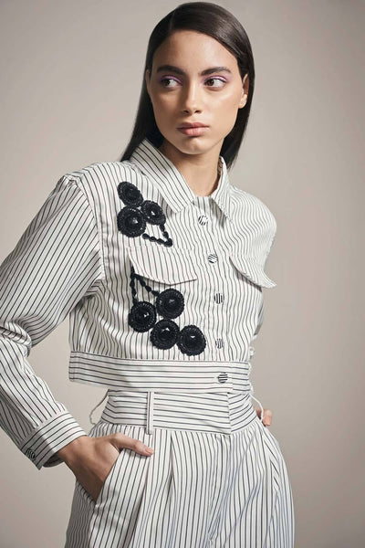 WHITE & BLACK STRIPE CROP JACKET - MellowDrama