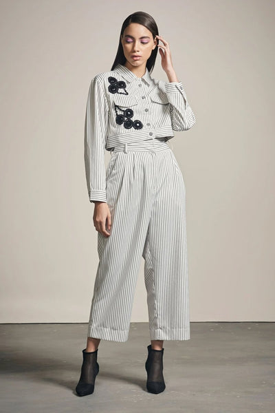 WHITE & BLACK STRIPE FLARE PANTS - MellowDrama