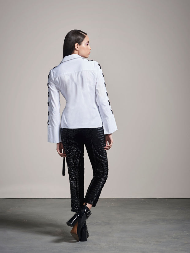 WHITE & BLACK WRAP SHIRT - MellowDrama