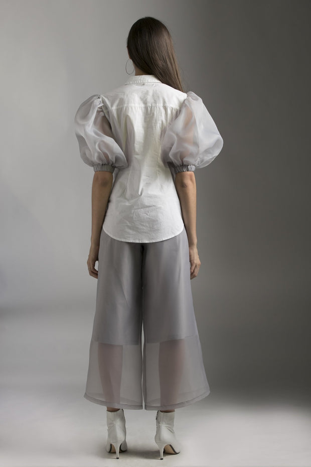 WHITE & GREY ORGANZA EMBELLISHED TOP - MellowDrama