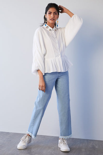 WHITE KIMONO SLEEVE SHIRT WITH EMBELLISHED COLLAR - MellowDrama