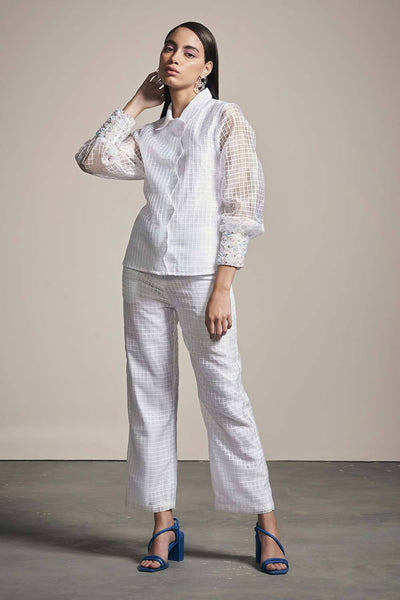 WHITE ORGANZA CHECK PANTS - MellowDrama