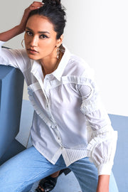 WHITE PLEATED SHIRT - MellowDrama