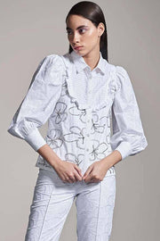 WHITE SCHIFFLI EMBELLISHED SHIRT - MellowDrama