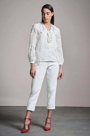 WHITE SCHIFFLI GEORGETTE SHIRT - MellowDrama