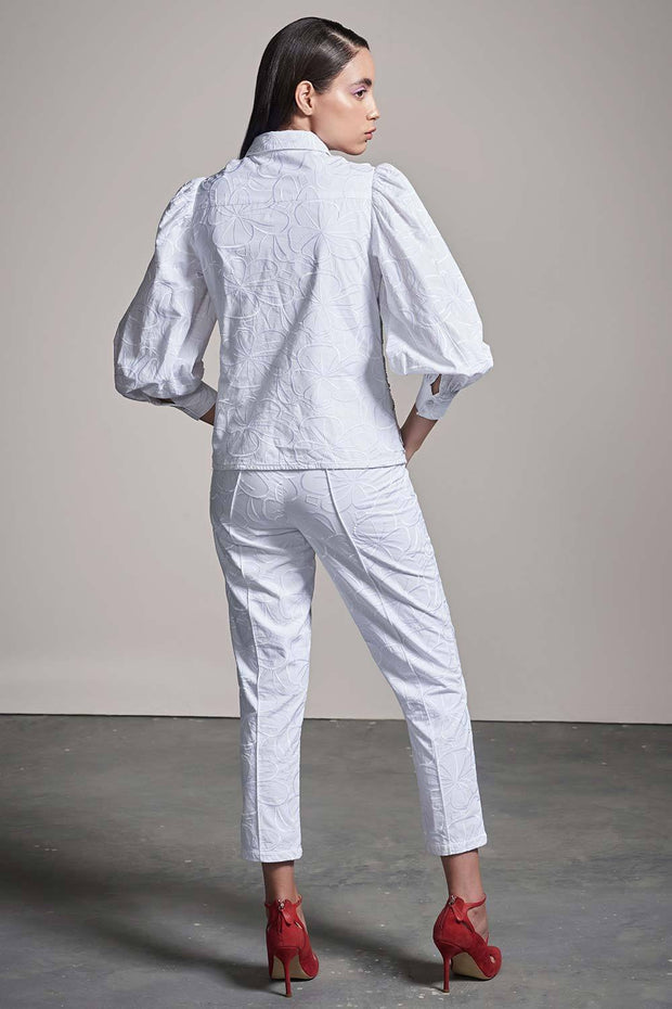 WHITE SCHIFFLI SHIRT & PANTS CO-ORD SET - MellowDrama