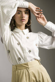 WHITE SHIRT WITH ALL OVER EMBELLISHMENT - MellowDrama