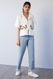 WHITE SHIRT WITH BEADED FLORAL MOTIFS - MellowDrama