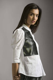 WHITE SHIRT WITH FOIL PRINTED PLEATS - MellowDrama