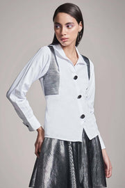 WHITE SHIRT WITH FOIL YOKE - MellowDrama