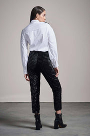 WHITE SHIRT WITH VELVET FLORAL APPLIQUÉ & VELVET PANTS SET - MellowDrama