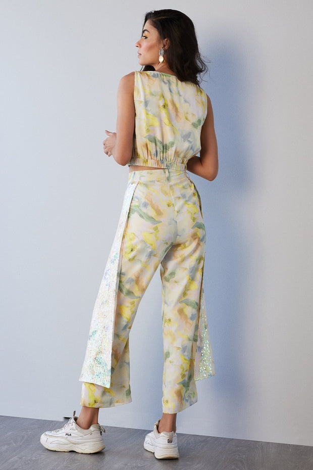 YELLOW PRINTED PANTS WITH SEQUINS SHEETING SIDE PANEL - MellowDrama