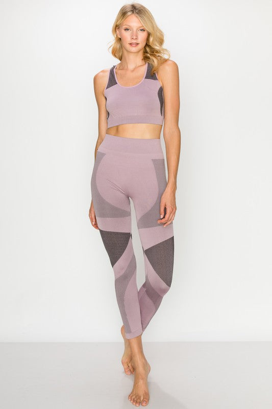 "Mauve ""Get Fit"" Bra and Legging Set"