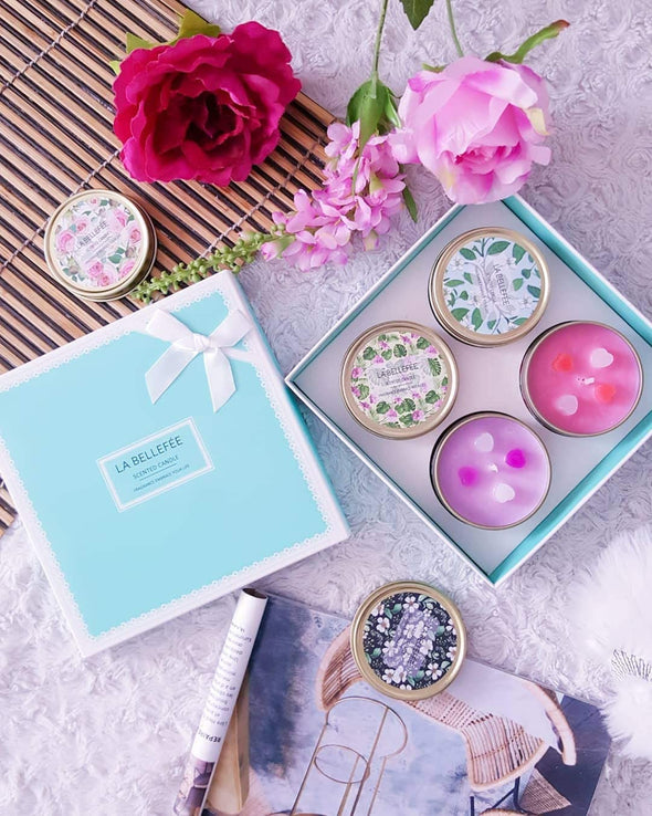 LA BELLEFÉE 4 Assorted Scented Soy Wax Candle Gift Set, Rose, Vanilla, Lavender, Jasmine (2.5oz ).