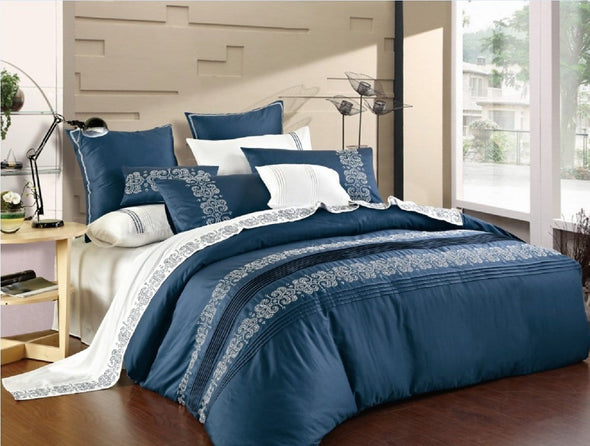 Angelica Embroidery 3pc Cotton Duvet Set.