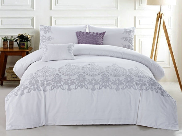 Callista Embroidery 3pc Cotton Duvet Set.