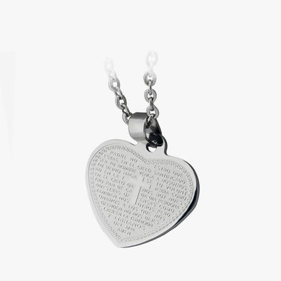 Exclusive Sale | Stainless Steel Cross in the Heart Necklace.