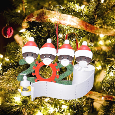 2020 Happy Quarantined Family Christmas Ornament (Dark Skin).