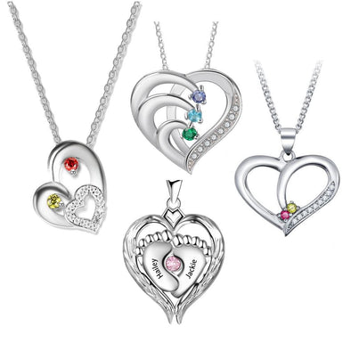 Personalized Engraving Name 925 Sterling Silver Heart Necklace with Birthstone.