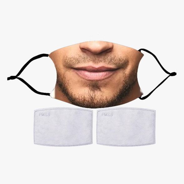 Exclusive Sale | FUN MEN'S FACES PRINTED REUSABLE FACE MASK WITH OPTIONAL FILTER.