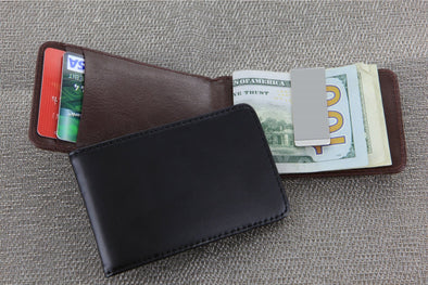 Non-Personalized | Leather Folding Case with Money Clip.