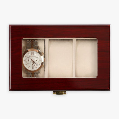 Non-Personalized | Cherry Wood Finish Watch Case - 3 Slot.