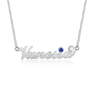 Personalized Silver, Yellow Gold and Rose Gold Birthstone Name Necklace.