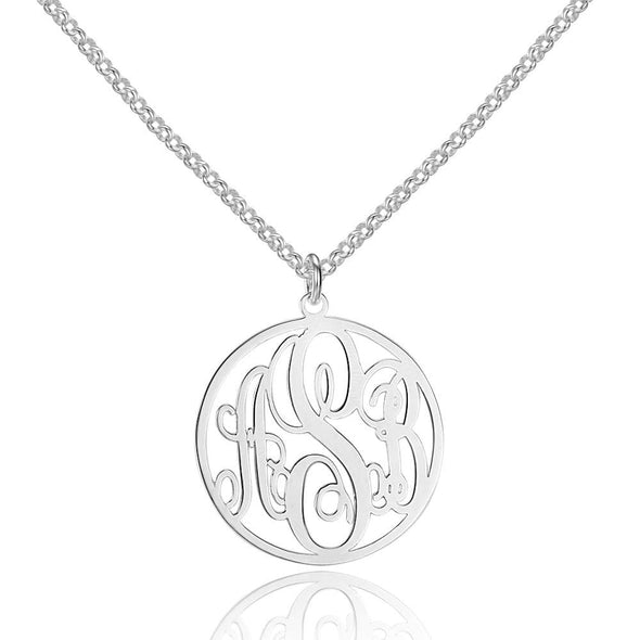 Personalized Monogram Necklace in 925 Sterling Silver.