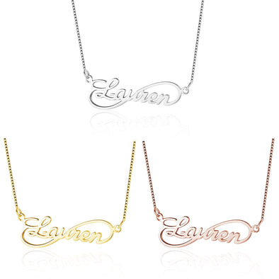 Personalized 925 Sterling Silver/Yellow Gold/Rose Gold Wave Name Necklace.