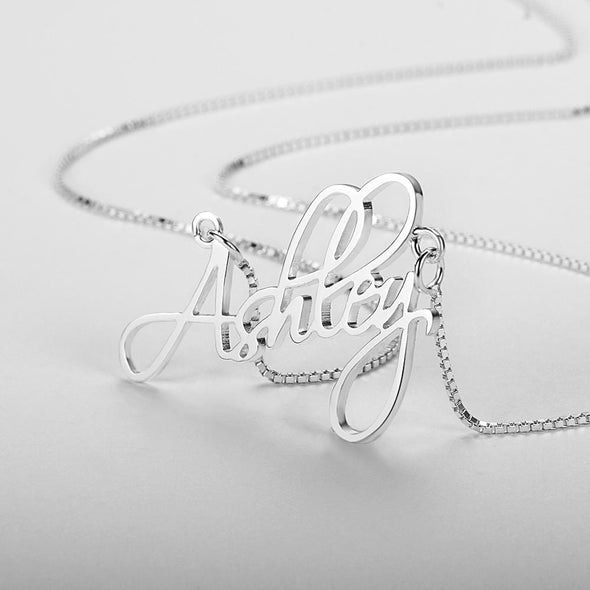 Personalized 925 Sterling Silver/Yellow Gold/Rose Gold Script Name Necklace.