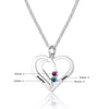 Personalized Silver, Yellow Gold and Rose Gold Heart Name Necklace w/Birthstone