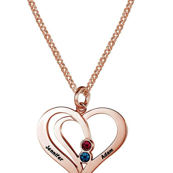 Personalized Silver, Yellow Gold and Rose Gold Heart Name Necklace w/Birthstone.