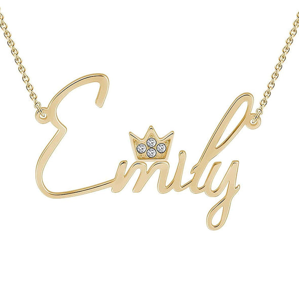 Personalized Silver, Yellow Gold and Rose Gold Name Necklace w/Jewel Crown