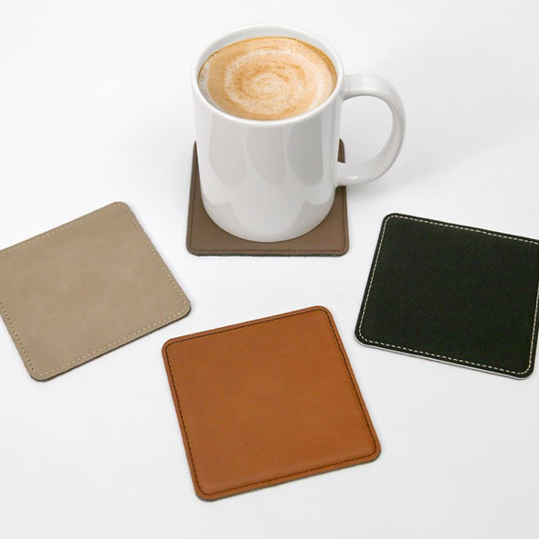 Exclusive Sale | Set of 6 Square Leatherette Coasters.
