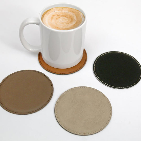 Non-Personalized | Round Set of 6 Leatherette Coasters.