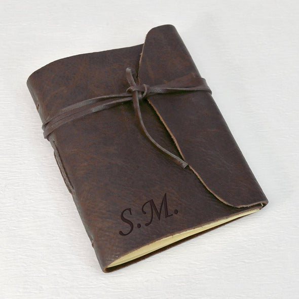 Customized Genuine Leather-Bound Wrap Journal - Medium